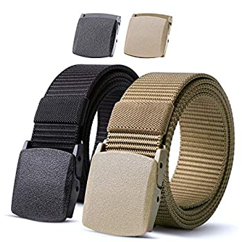 Nylon Military Tactical Men Belt 2 Pack Webbing Canvas Outdoor Web Belt with Plastic Buckle,Fits Pant up to 40 Inch,1-Black&Green Khaki