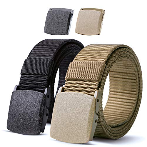 JASGOOD 2 Pack Nylon Belt Outdoor Military Web Belt 1.5 Inch Men Tactical Webbing Belt Black/Khaki Belt with Plastic Buckle,Fits Pant up to 45 Inch