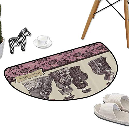 Anti-Slip Coffee Table Floor Mats Ladies Clothes Fashion History Dress Handbag Feather Gloves Floral Design Print W24 x L16 Half Round Best Floor mats