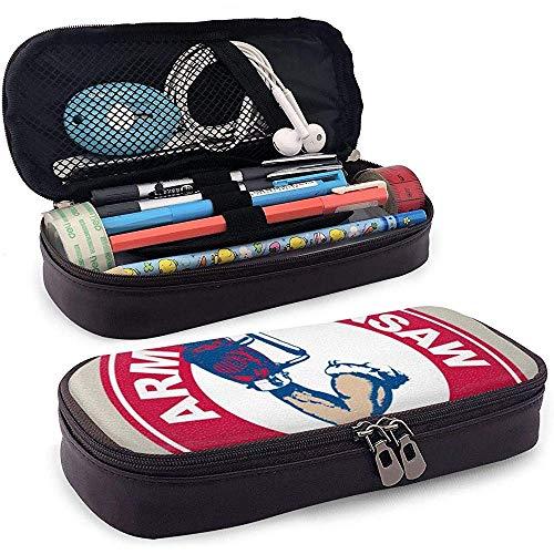 Bolso de cuero para lápiz Brazo Motosierra Artículos de tocador rápidos Bolsas de cosméticos Bolsa de organizador Estuche de lápices