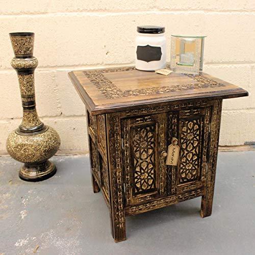 Romatlink Table d'appoint carrée avec Compartiment de Rangement en Bois Style marocain Marron 45,7 cm