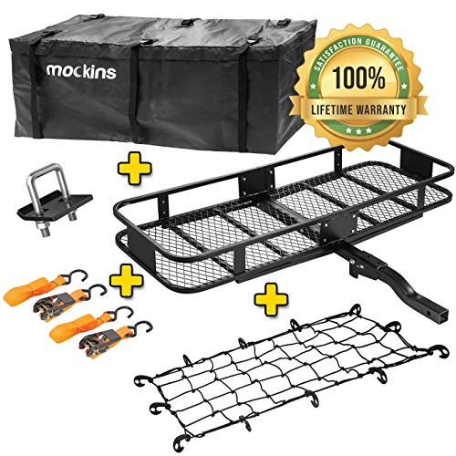 Mockins Hitch Mount Cargo Carrier with Cargo Bag and Net |The Steel Cargo Basket is 60 Long X 20 Wide X 6 Tall with A Hauling Weight of 500 Lbs & A Folding Shank to Preserve Space When Not in Use