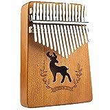 HSTD Dedo Pulgar Piano, 17 Teclas Piano de Pulgar, Mbira con Instrucción Tune Hammer Piano Bag Chapa Completa Caoba Mejor Cumpleaños Halloween
