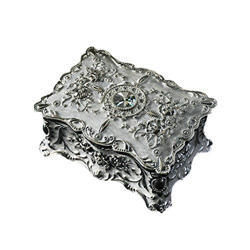 GWM Schmuckschatulle, Vintage Metall-Legierung Design, Schmuckstück Geschenk Schmuckkästchen-Silber