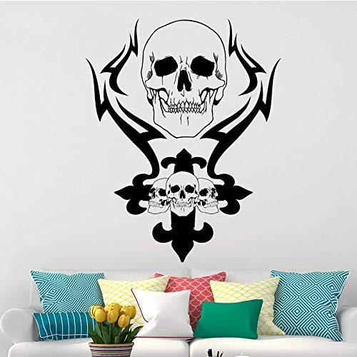 Etiqueta engomada creativa de la pared del vinilo de la decoración de la pintura del esqueleto del cráneo