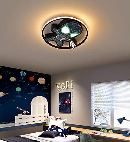 LED Plafonnier Chambre d'Enfants Dimmable luminaire de plafond avec Télécommande Créatif Ronde Animé Marvel Spiderman lustre pour Garçon Moderne Chambre de Bébé Enfants Applique Murale, noir, Ø45cm