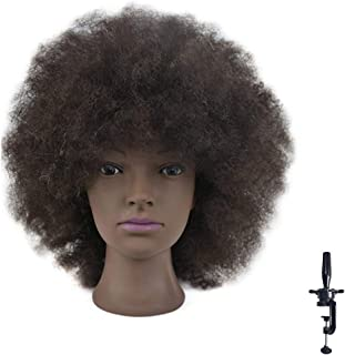 Mannequin Head African American with 100% Human Hair Cosmetology Afro Hair Manikin Head for Practice Styling Braiding with...