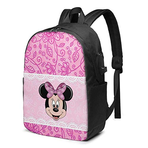 HuangYongHongPODFPO Mouse Minnie Laptop Backpack- with USB Charging Port/Stylish Casual Waterproof Backpacks Fits Most 17/15.6 Inch Laptops and Tablets/for Work Travel School