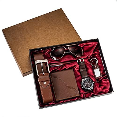 YUTRD ZCJUX 6 Stück/Set Herren Geschenkset wunderschön verpackte Uhren + Brille Gürtel Brieftasche kreative Mode Männliche Quarzuhr für Männer Uhr Stunden