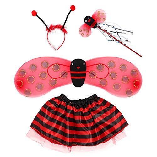 MYhose 4 Pezzi/Set Set Costume da Fata per Bambini, Coccinella Ape Glitter Carino Ala a Strisce Tutu Gonna Bacchetta Fascia, Vestito di Halloween Vestito 1 Coccinella Rossa