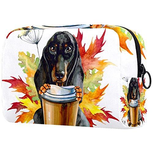 Bolsa de maquillaje portátil con un vaso de café con bolsa de...