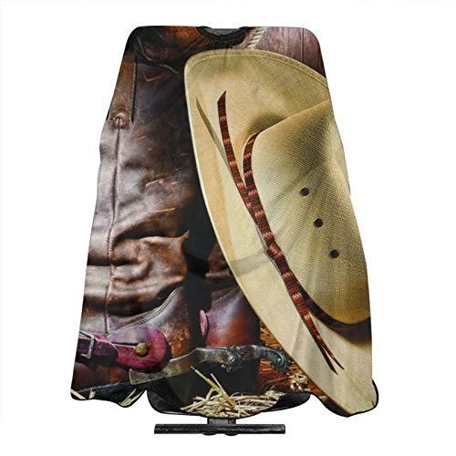 Sombrero de vaquero negro botas occidentales de peluquería profesional y casero corte de pelo delantal peluquería vestido de...