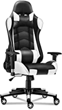 ALFORDSON Gaming Chair Racing Chair Executive Sport Office Chair PU Leather Regan White