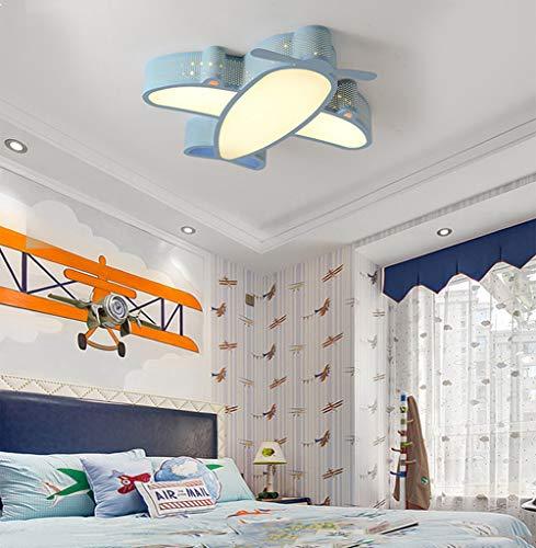 WANG-LIGHT Moderno Dibujos Animados LED Niño Lámpara De Avión Luz De Techo Jardín De InfanciaBebé Niño HabitaciónChico Dormitorio Lámpara De Techo Iluminación,Bluewarmlight,50cm