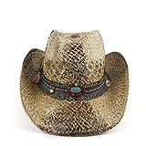 HONG YI-HAT Accesorios de Vestir Sombrero de Paja para Mujeres Hombres Sombrero Vaquero Occidental Vacaciones de Verano Vaquera Fedora Jazz Sombrero Playa al Aire Libre Sombrero Hombre Guardavidas So