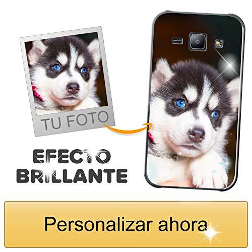 Funda móvil Personalizada con Efecto Brillante para Samsung Galaxy J1 con Tu Foto, Imagen o Frase - Funda Blanda en TPU Gel Transparente - Impresión de máxima Calidad