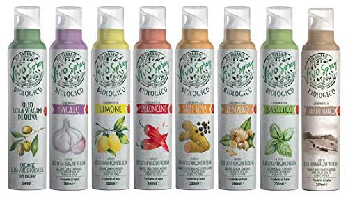 VIVO Spray - Organic Extra Virgin Olive Oil and Flavored Organic Extra Virgin Olive Oils: Turmeric and Black Pepper, Ginger, Basil, Lemon, Chilli, Garlic, White Truffle (8 x 200ml)