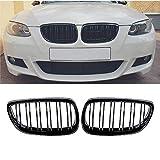 DQDZ 2006-2009 Serie 3 M3 E92 E93 2 puertas rejilla frontal negra brillante para riñón – Par