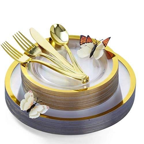 Vajilla de oro transparente de 150 piezas