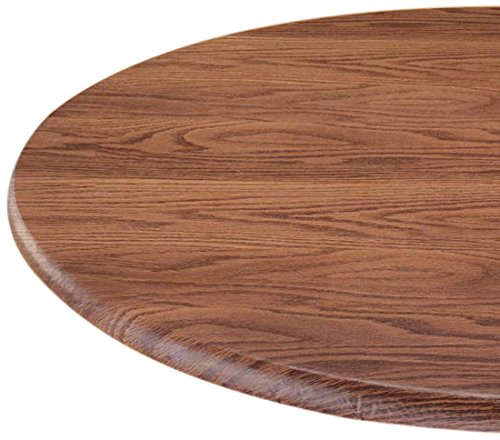 "LAMINET Woodgrain Elastic Round Table Cover, Small Fits Up to 44"" Diameter, Oak Wood"