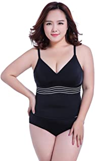 Jieming 女性のための水着プラスサイズのローカット背中の開いたファッションデザインと文字列ハイウエストワンピースセクシービキニ (色 : ブラック, サイズ : XL)