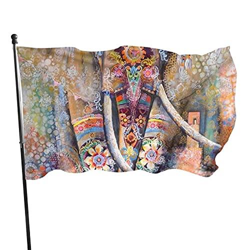 GOSMAO Bandera de jardín Flor de Elefante Color Vivo y Resistente a la decoloración UV Bandera de Patio Cosida Doble Bandera de Temporada Banderas de Pared 150X90cm