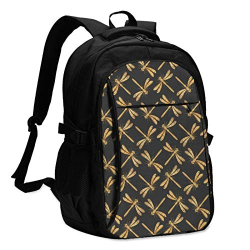 Golden Dragonflies Unisex Travel Laptop Backpack with USB Charging Port School Anti-Theft Bag