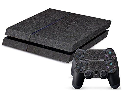Gaminger Playstation 4 Designfolie Sticker Skin Set für Konsole + 2 Controller – Black Asphalt rauhe Struktur