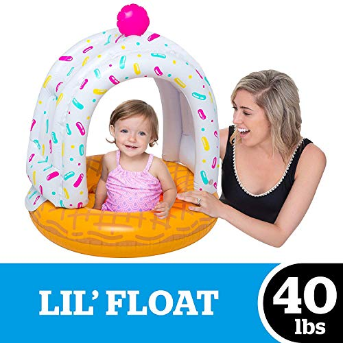 BigMouth Inc. Lil' Cute Ice Cream Cone Float with Canopy - Ultra-Durable Dual-Chamber 3-Point Harness w/ Child Safety Valves &...
