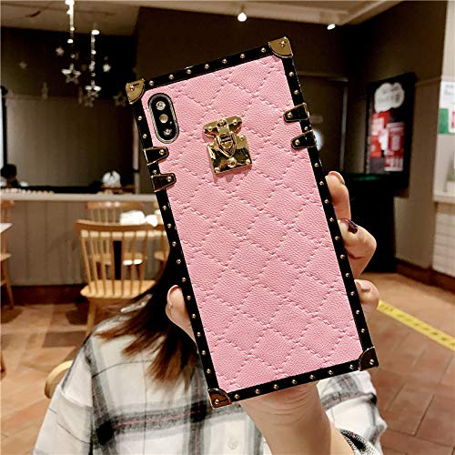 for Samsung Galaxy A20 / A30 Grid Plaid Case,SelliPhone Luxury Diamond Skin Design Cute Slim Gold Square Protection Corner Trunk Back Case for Man Women Girl Phone Skin,Pink