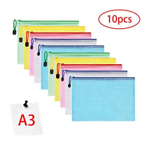 Vicloon Bolsas de Documentos A3, 10 Piezas Carpetas para Archivo Documentos de plástico con Malla, Bolsa de Archivo de Cremallera para Certificados Recibos Papelería Oficina Viaje Tarea Escolar