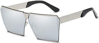 Fashion Square Silver Large Frame Glasses Unisex UV400 Protection Fashion Polarized Sunglasses Retro (Color : Silver)