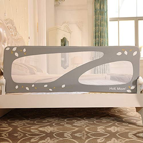Portable and Steady Bed Guard Baby Safety Bed Rail, Large 150cm (Grey)