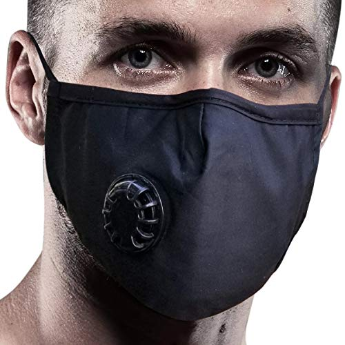 Pollution Dust Mask | 4 Filters | Cloth Face Mask Washable (Large, Black)