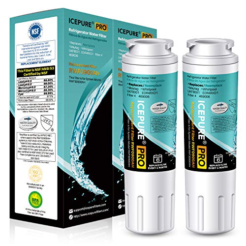 ICEPURE PRO NSF 53&42 Certified UKF8001 Refrigerator Water Filter, Compatible with Maytag UKF8001, UKF8001AXX, UKF8001P, Whirlpool 4396395, 469006, EDR4RXD1, EveryDrop Filter 4, Puriclean II, 2 Pack