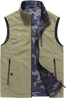 Men's vest Thin Section Two-Sided vest Loose vest Men's Outdoor Multi-Pocket vest Quick-Drying vest (Color : Khaki, Size : M)