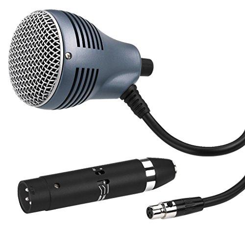 JTS CX-520 dynamische instrumentenmicrofoon voor blues-Harp en traditionele mondharmonica-speler, microfoon met supernier-karakteristiek, incl. transportbox en kabeladapter, in zwart
