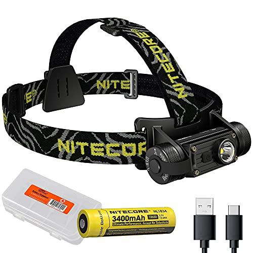 Nitecore HC60 v2 1200 Lumen USB-C Rechargeable Headlamp with LumenTac Battery Organizer (Cool White)