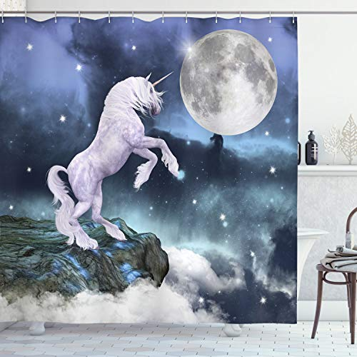 ABAKUHAUS Duschvorhang, Legendäre Einhorn Kreatur auf Einer Kliffe mit Vollmond Licht Himmel Fantasy Dekor Bild Druck, Wasser & Blickdicht aus Stoff mit 12 Ringen Schimmel Resistent, 175 X 200 cm