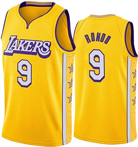 WSUN Maglia da Basket NBA da Uomo,Maglia Los Angeles Lakers 9# Rajon Rondo Maglia Sportiva Traspirante per Il Tempo Libero NBA Maglietta Swingman,M(170~175cm/65~75kg)