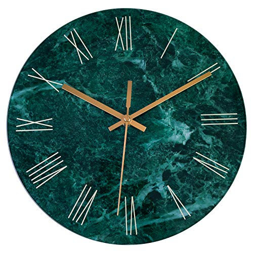 Foxtop Gehärtetes Glas Moderne Wanduhr, Marmor Design Leise Nicht Tickend Quarz Batteriebetrieben Dekorative Runde Leicht zu lesende Uhr für Wohnkultur (30 cm, Smaragd, römische Ziffern)