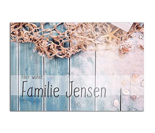 Edles Türschild mit Namen für die Haustür | Namensschild Briefkasten-Schild selbstklebend oder mit Bohrlöcher Klingelschild mit kratzfestem UV Druck | Größe ab 12x8 cm bunte Türschilder
