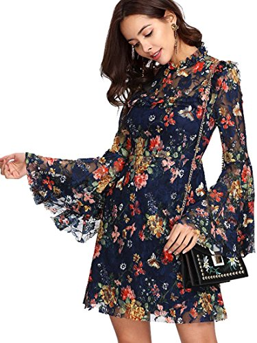 ROMWE Damen Elegant Sommerkleider mit Blumen Druck Muster A-Linie Urlaub Party Kleider Blau S