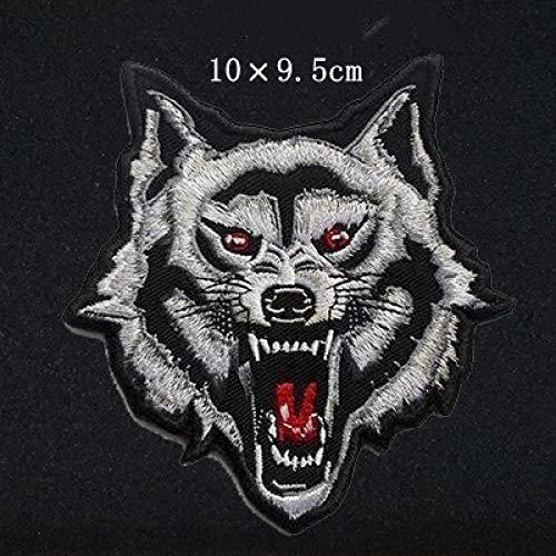 FFDGHB Parche De Cabeza De Lobo Bordado Parche De Ropa De Animales Insignia Etiqueta De Planchado Chaqueta DecoracióN Productos De Costura Bordado Individual Apliques Costura 10 * 9.5Cm