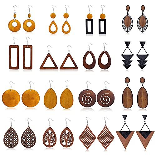 CASSIECA 16 Pares Pendientes de Madera Pendientes Colgantes de Madera Natural Pendientes Africanos para Mujer Pendientes Colgantes de Etnica Ligera Geométrica Gancho de Acero Inoxidable