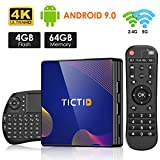 Android TV Box 9.0 TICTID TV Box Android 4G RAM+64G ROM R8 Plus con Wireless Mini Tastiera, RK3318 Quad-Core 64-Bit 10 /100M Ethernet / 2.4G/ 5G WIFI / BT 4.0/ H.265,4K HD Smart TV Box