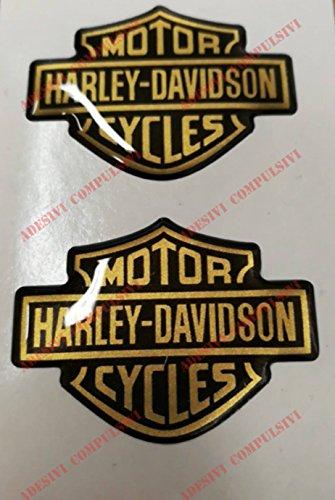 Harley Davidson coppia adesivi resinati 3D Resinato (Oro)