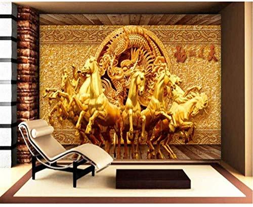 RTYUIHN Carta da parati 3D cavallo dorato Carta da parati foto 3D Carta da parati 3D soggiorno TV Decorazione da parete Carta da parati moderna Decorazione da parete