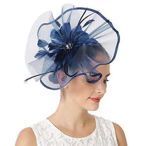 JaosWish Fascinator für Damen, Hochzeitshut, Feder, Netz-Clip, Fascinator, Haarband für Royal Ascot Cocktail Gr. Einheitsgröße, marineblau