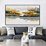 KWzEQ Cartel de Paisaje Abstracto de Estilo Chino e impresión con decoración de Sala de Estar de Imagen de montaña Amarillo Dorado,Pintura sin Marco,60x105cm